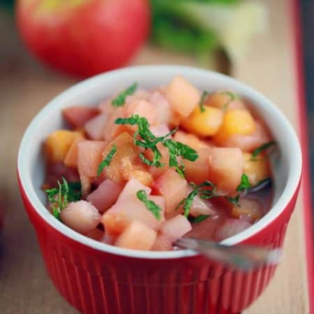 Sweet and Tangy Apple and Peach Chutney