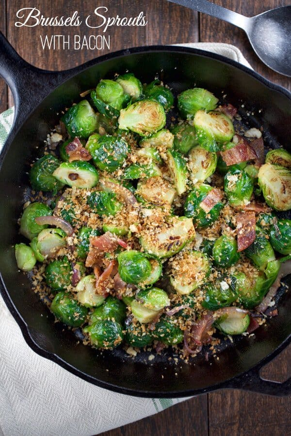 sauteed brussels sprouts with bacon recipe | jessicagavin.com