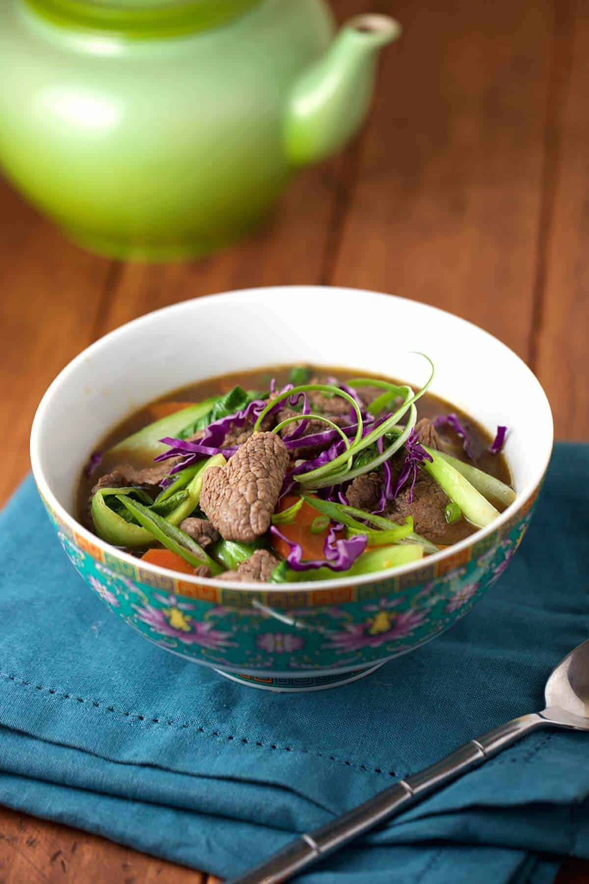 A hearty recipe for Chinese Five Spice Beef Soup with Bok Choy | jessicagavin.com