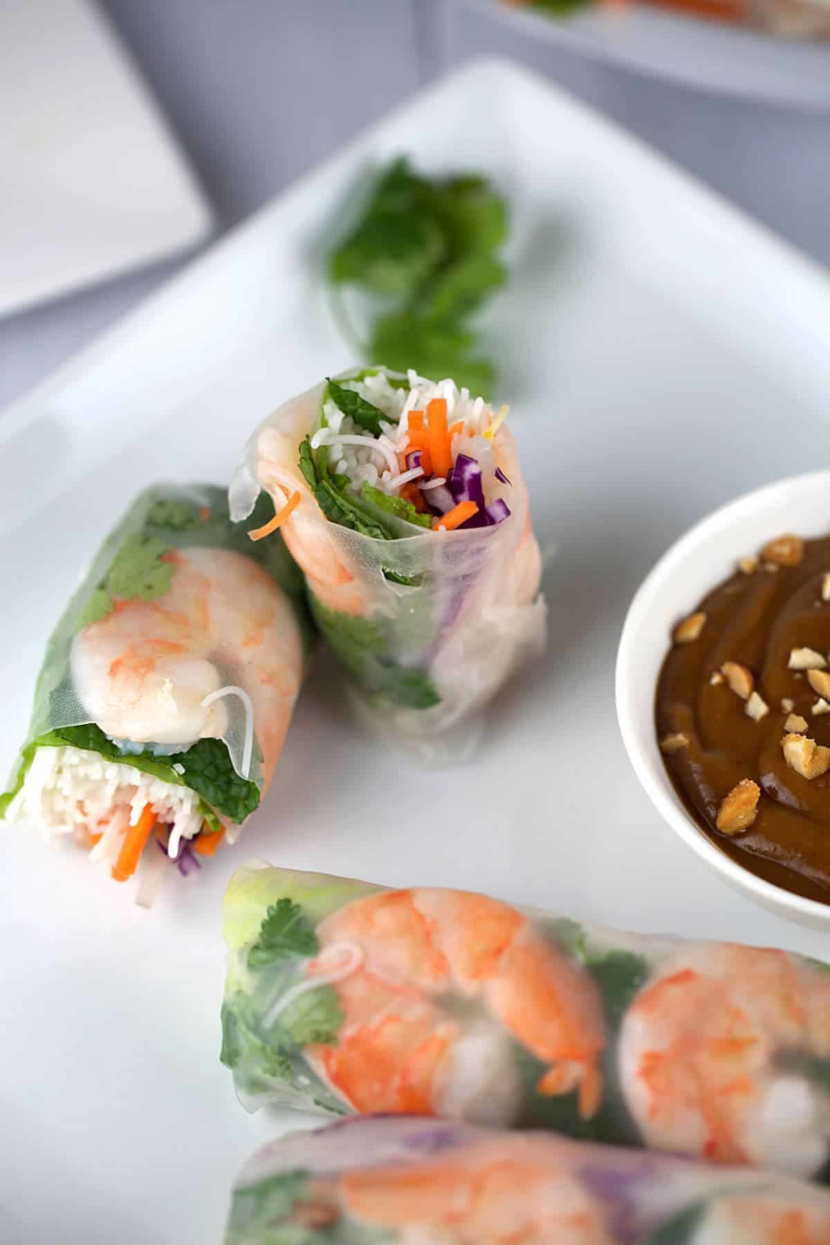Fresh Shrimp Spring Rolls with Peanut Dipping Sauce | Jessica Gavin