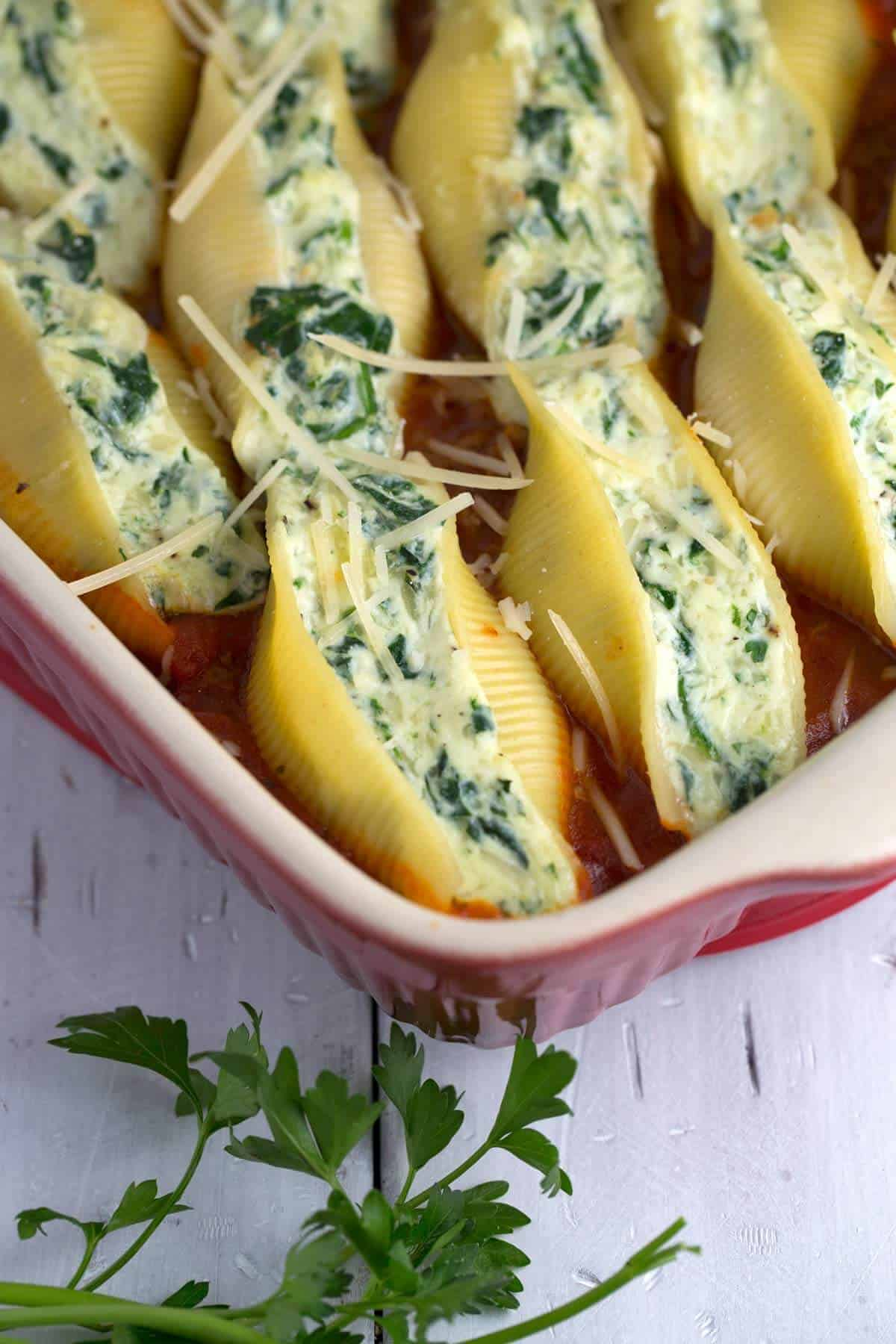Spinach and Cheese Stuffed Shells with Meat Sauce   Jessica Gavin