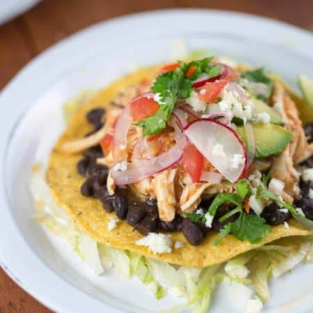 Crunchy Mexican Tostadas with Shredded Chicken