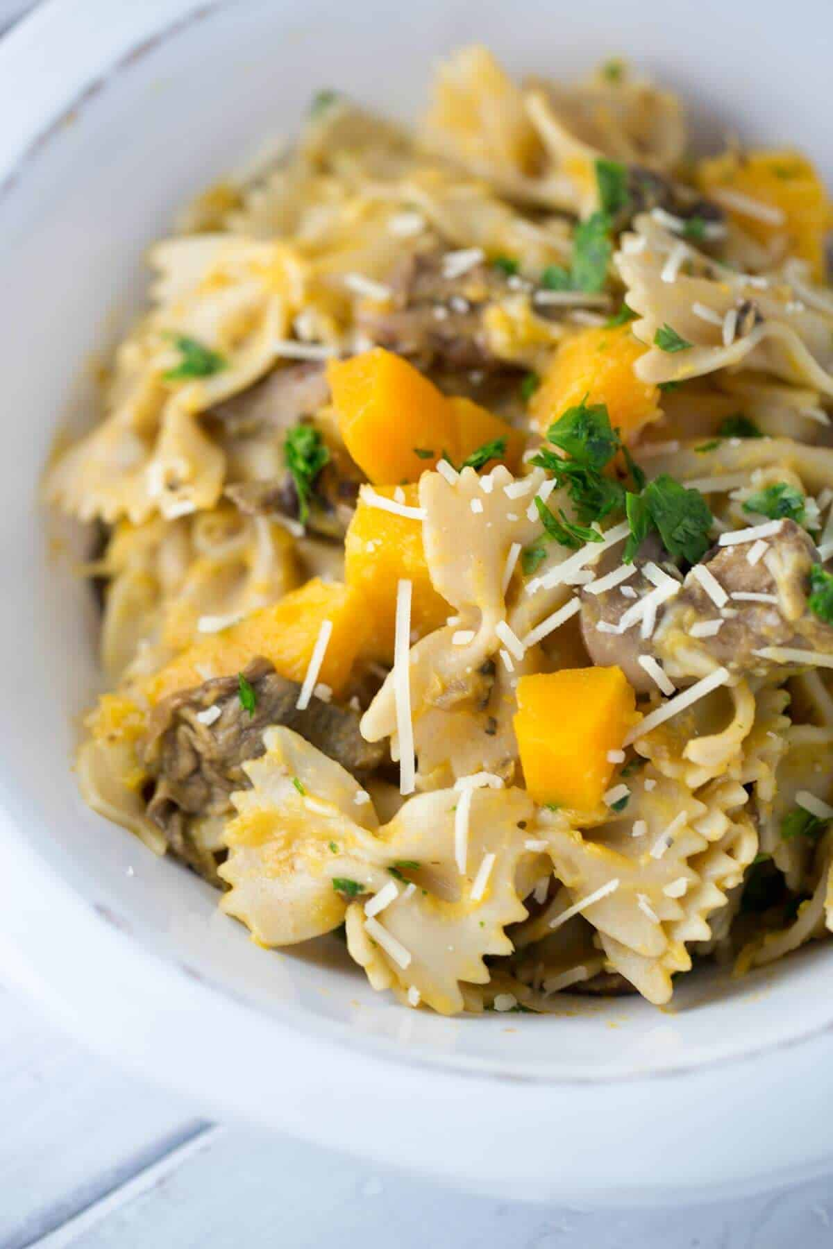 Butternut Squash Mushroom Farfalle Pasta - a healthy recipe packed ...