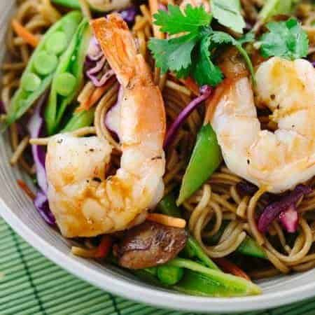 Soba Noodles with Spicy Garlic Shrimp