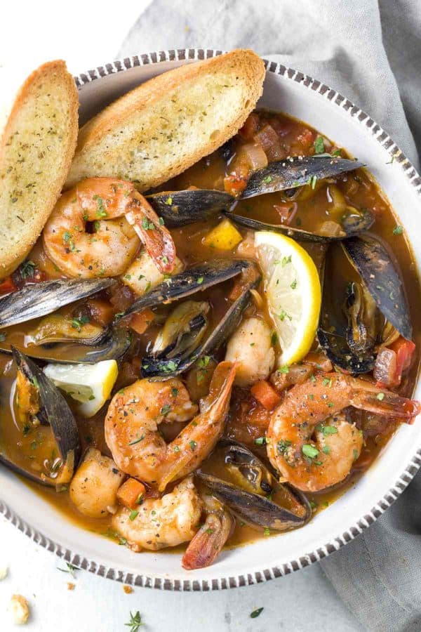Seafood Cioppino in a bowl