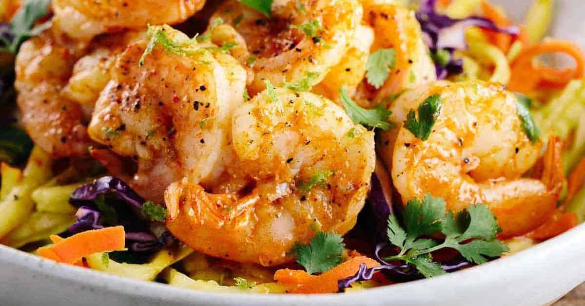Spicy Thai Shrimp Recipe with Vegetable Pasta Noodles ...