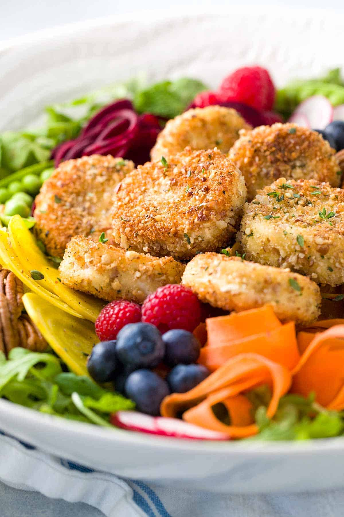 Fried Goat Cheese Salad with Raspberry Dressing | jessicagavin.com
