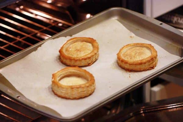 Bake the puff pastry shells until puffed and golden