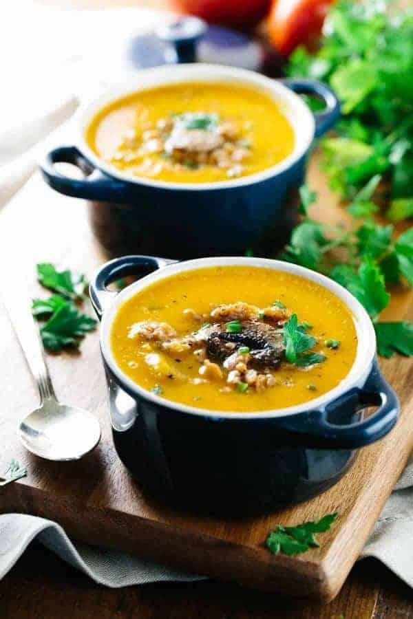 Two bowl of Italian butternut squash soup