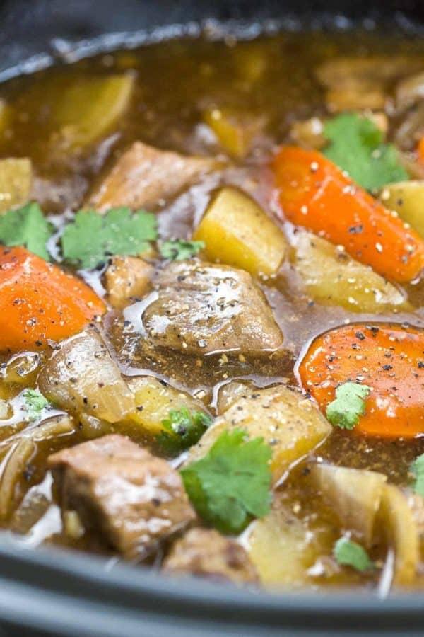 Beef stew simmering in a Crock Pot