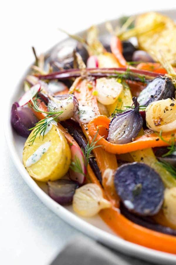 gold potatoes and purple potatoes served family style