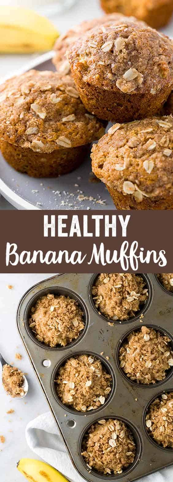 Healthy banana muffins recipe made with old fashioned rolled oats and whole wheat flour. Start your day with an easy, nutritious breakfast. This mix contains several healthier ingredient substitutions.