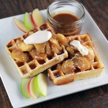 Gluten Free Salted Caramel Apple Waffles