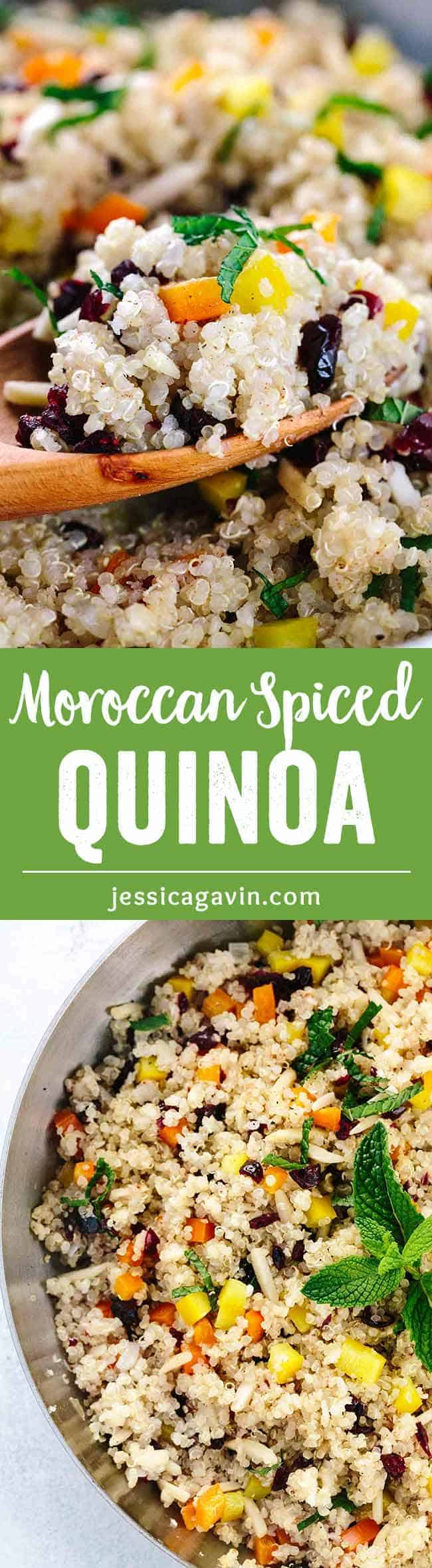 Moroccan Spiced Cranberry Almond Quinoa - A healthy side dish, that is quick and easy to prepare and packed with flavor! Cinnamon, mint, garlic, peppers and crunchy almonds add an exotic twist to a protein-rich quinoa.