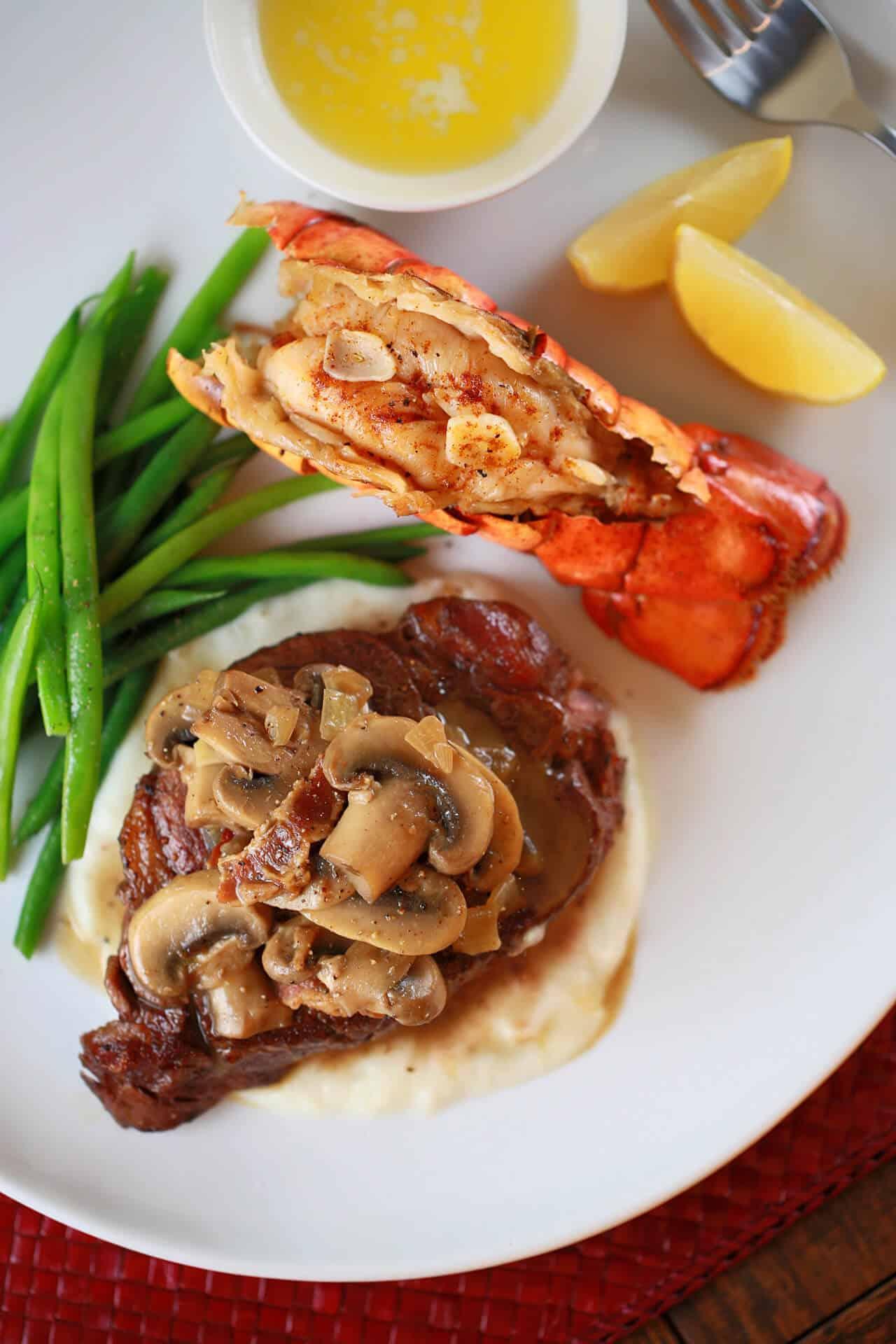 top-view-steak-lobster-plate