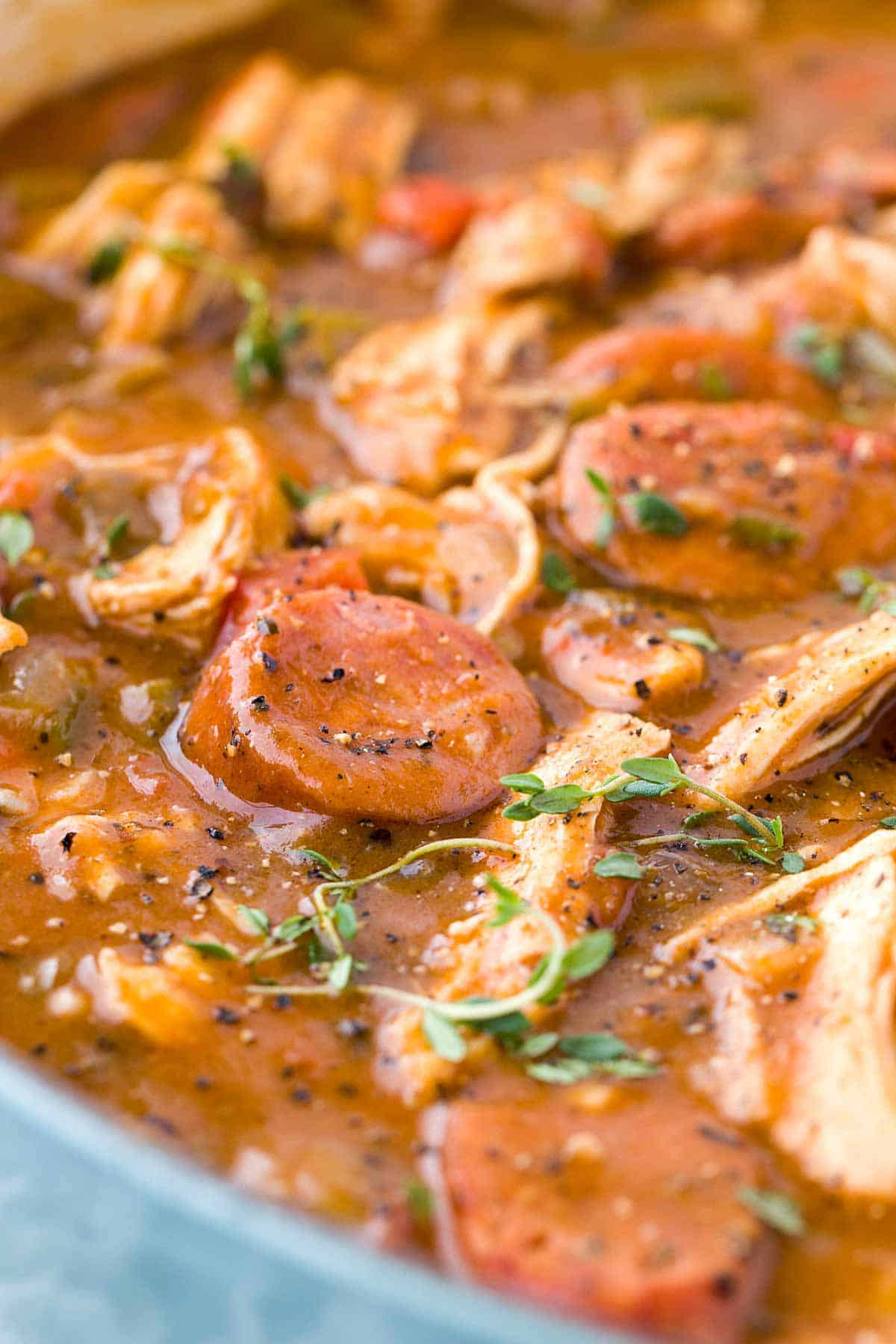 Chicken Andouille Sausage Gumbo - Smoky sausage, okra, and aromatic vegetables make this authentic New Orleans recipe perfect for sharing. | jessicagavin.com