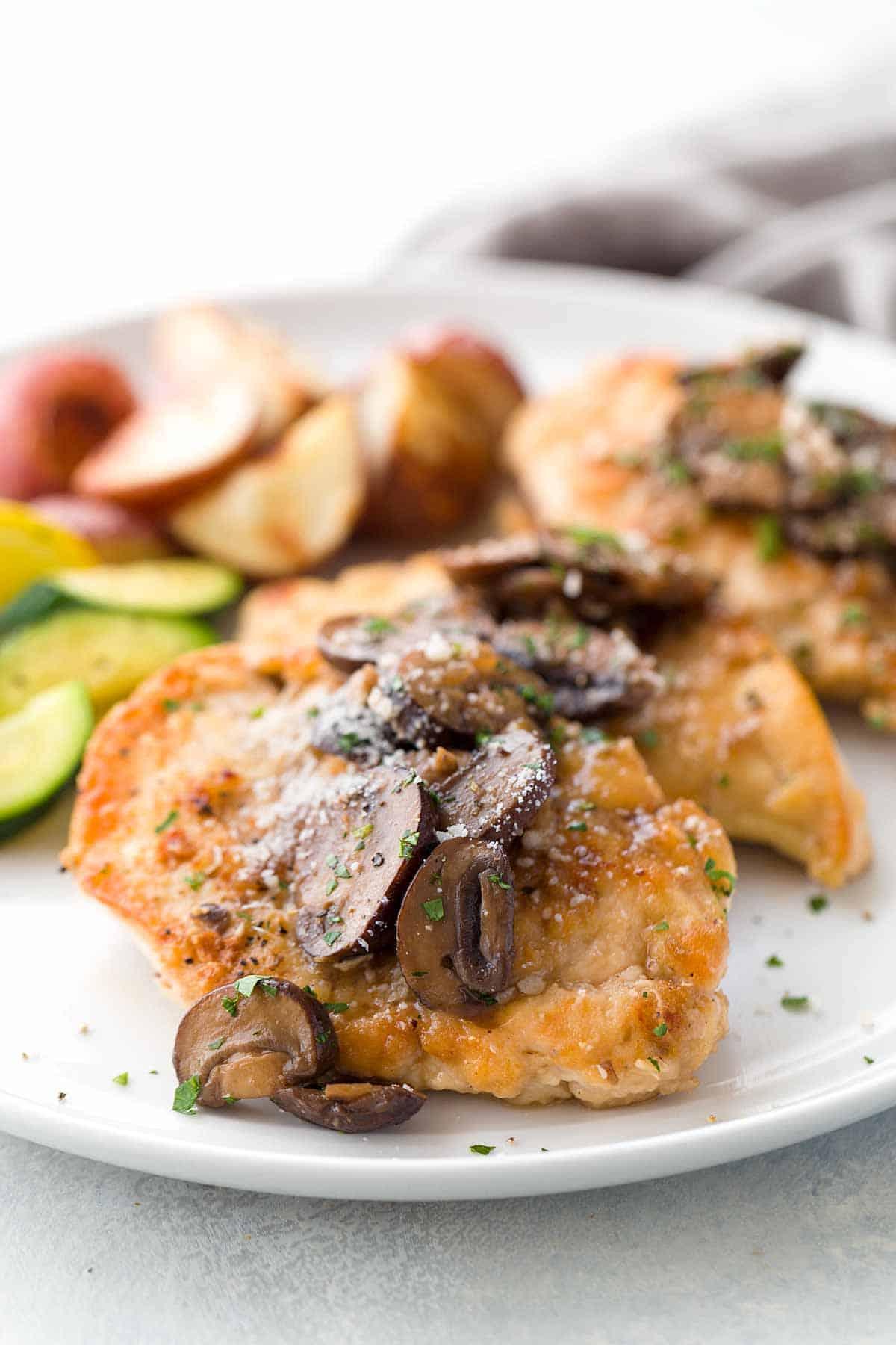 Plate of chicken marsala