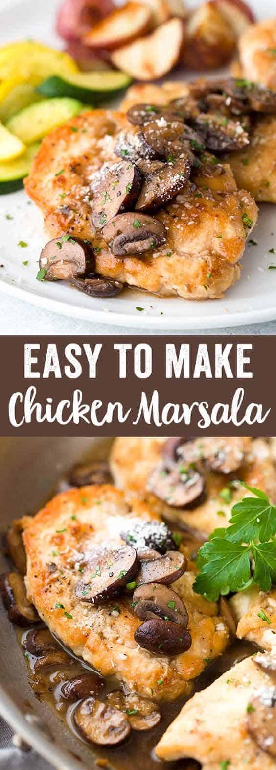 Easy chicken marsala recipe with mushrooms jessica gavin - Olive garden chicken marsala calories ...
