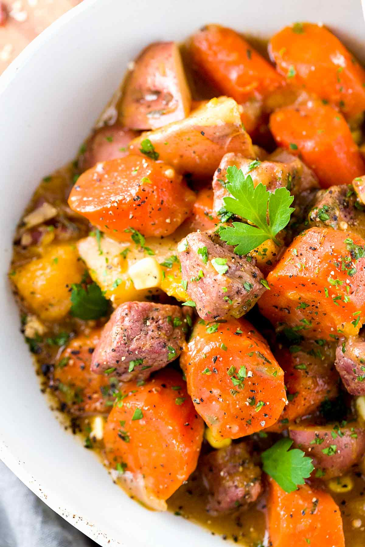Irish beef stew recipe with tender pieces of meat and root vegetables
