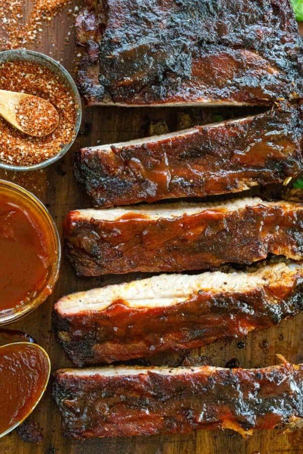 Barbecue pork ribs on a cutting board