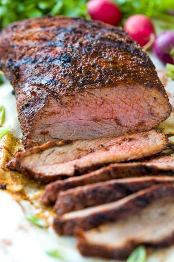 Santa Maria style tri-tip recipe perfect for grilling during barbecue season! A smoky, sweet and spicy rub adds instant flavor to this tender cut of beef.