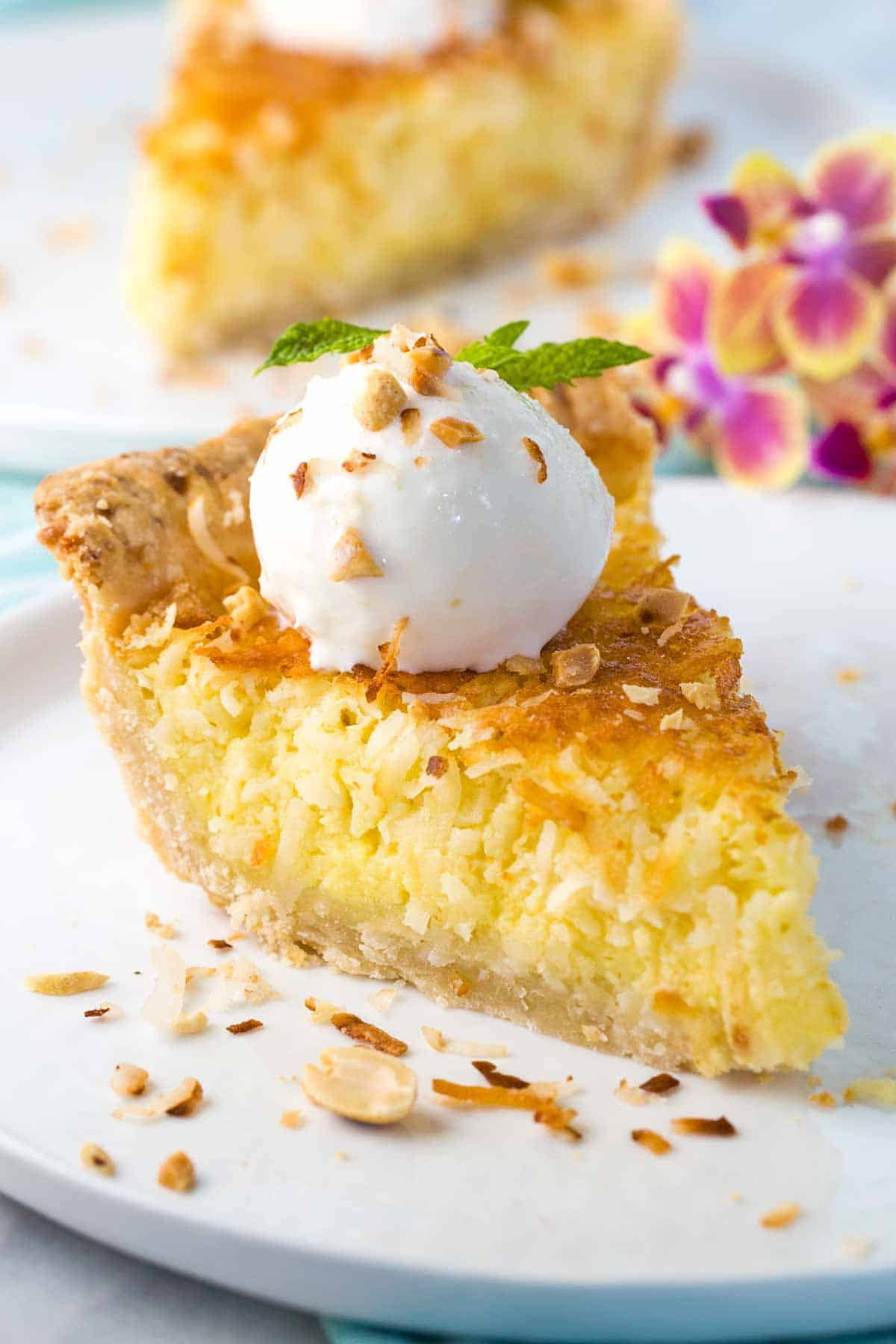 Coconut custard pie recipe with a flaky crust and egg custard filling. This tropical dessert is best served warm with a scoop of vanilla bean ice cream.