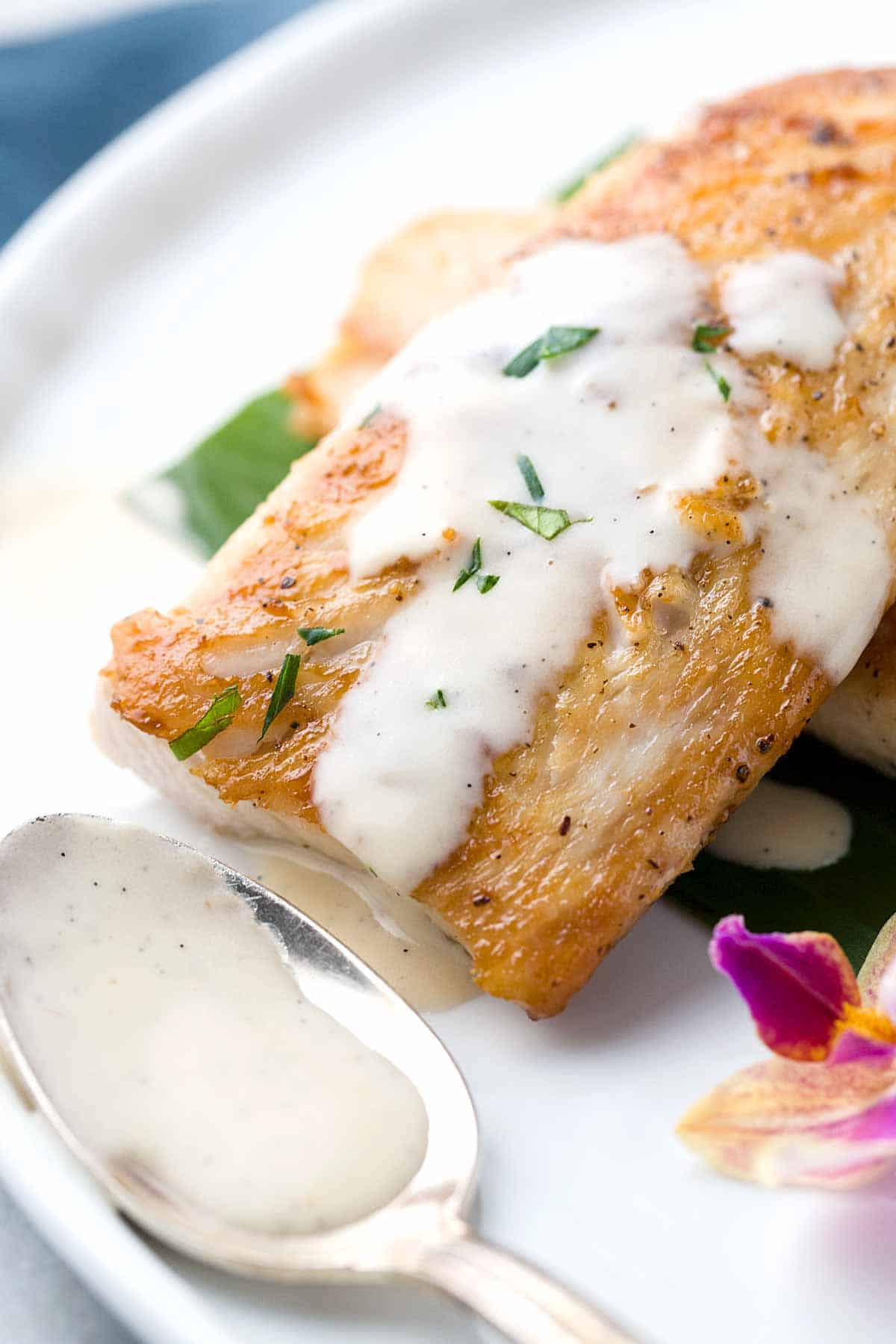 Pan seared Mahi Mahi fish fillets served with a creamy Tahitian vanilla bean sauce, a classic French Polynesian recipe made with rum and coconut.