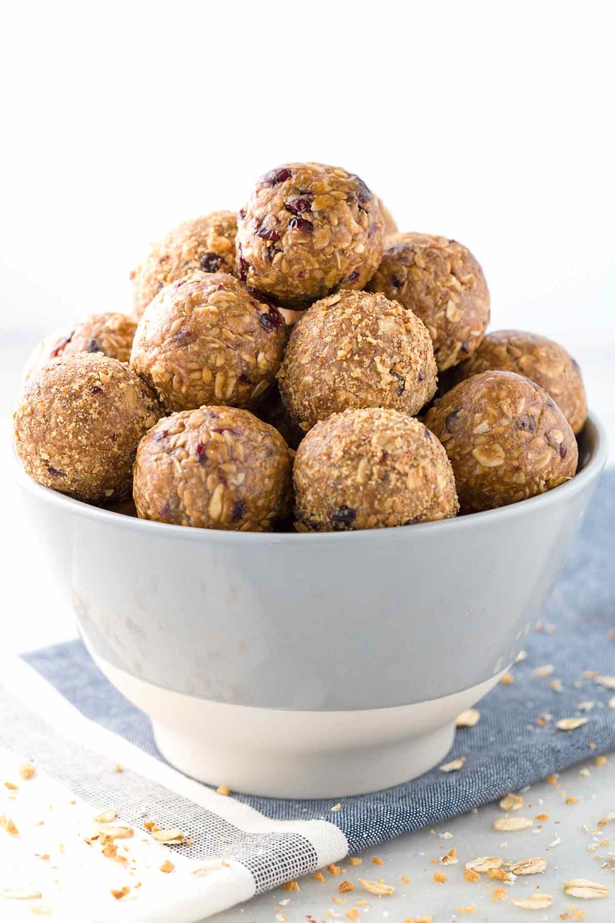 Bowl of healthy no bake energy bites