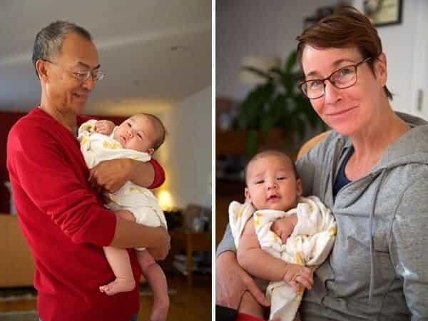 Grandpa and Grandma holding James