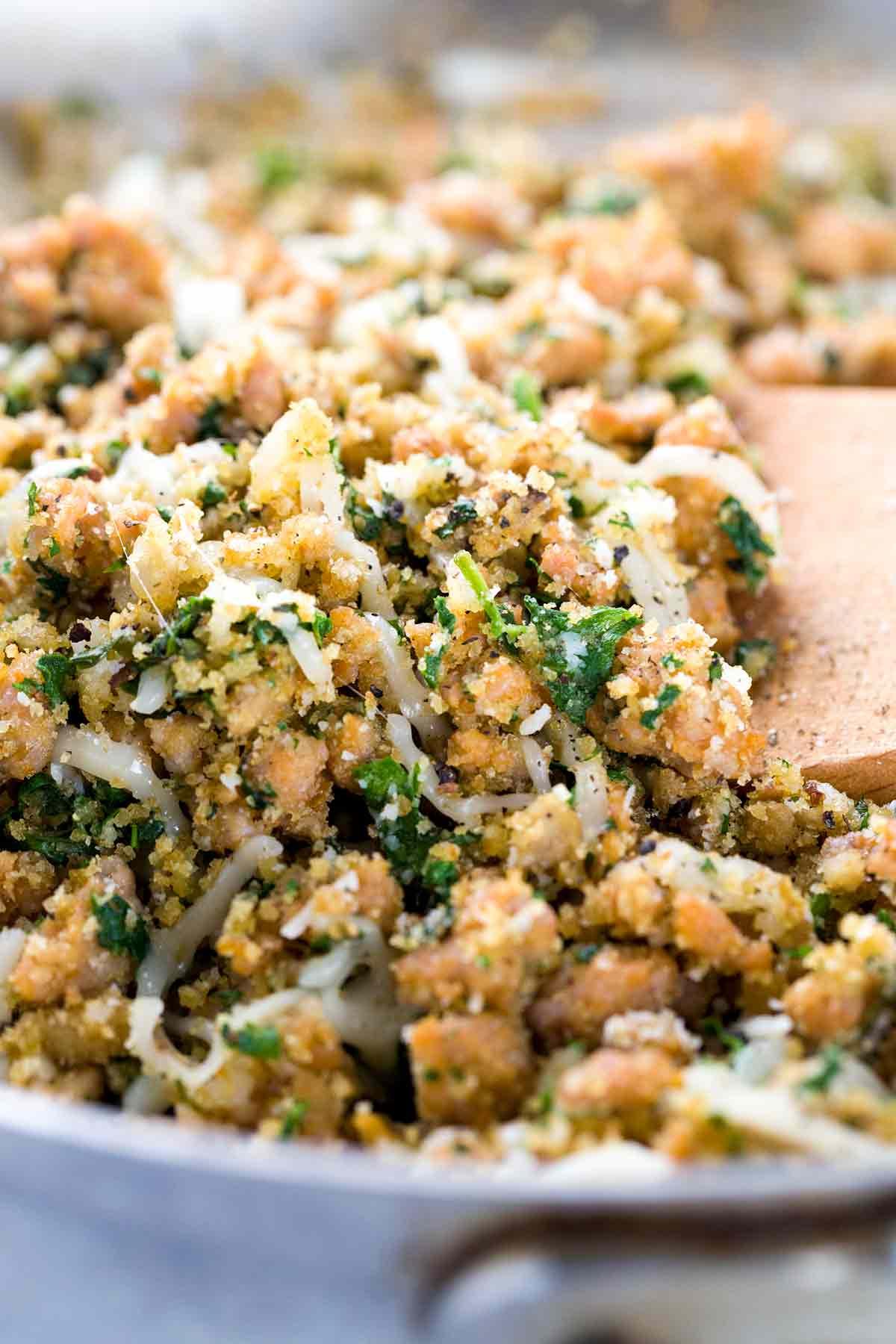 Stuffed Mushrooms garlic and Italian sausage breadcrumb mixture