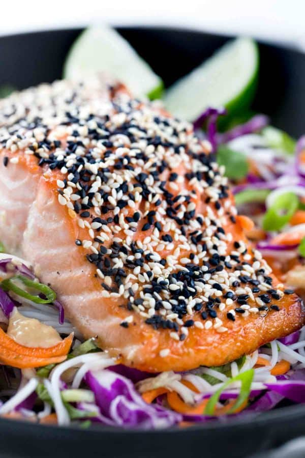 Large salmon filet with black and white sesame seeds on top