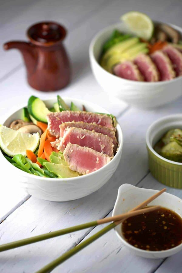 bowls of sesame crusted ahi tuna with soy ginger sauce