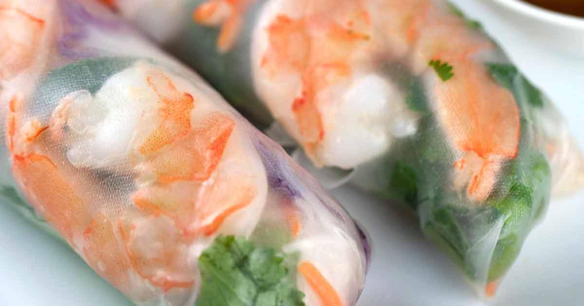 Fresh Shrimp Spring Rolls with Peanut Dipping Sauce | Jessica Gavin