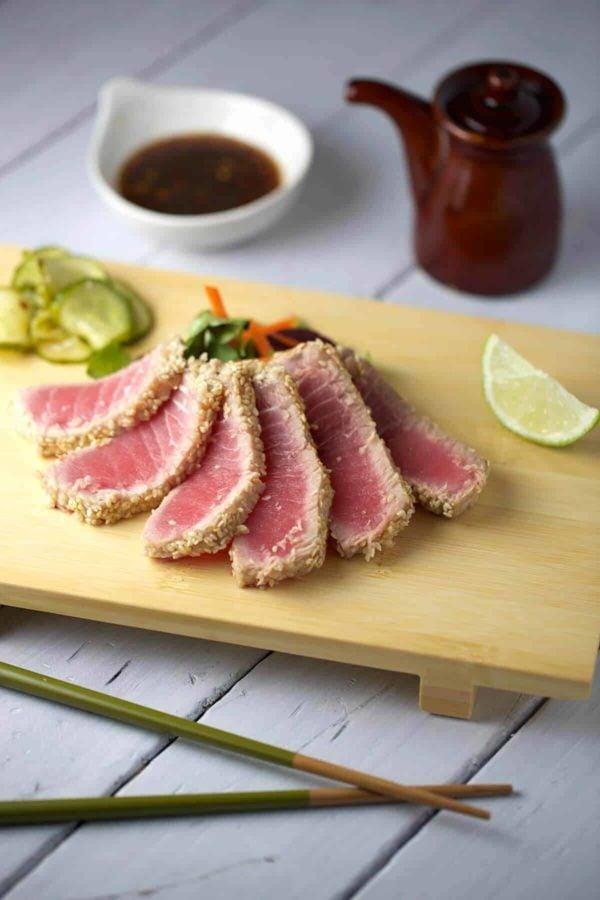 Sesame crusted ahi tuna with soy ginger sauce