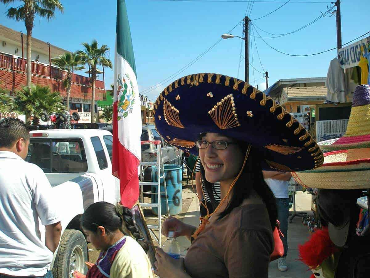 Jessica wearing a Mexican Sombrero in Puerto Neuvo, Baja circa 2007