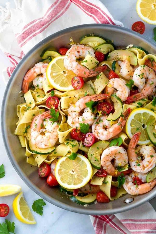 Shrimp pasta in a pan with lemon garlic sauce