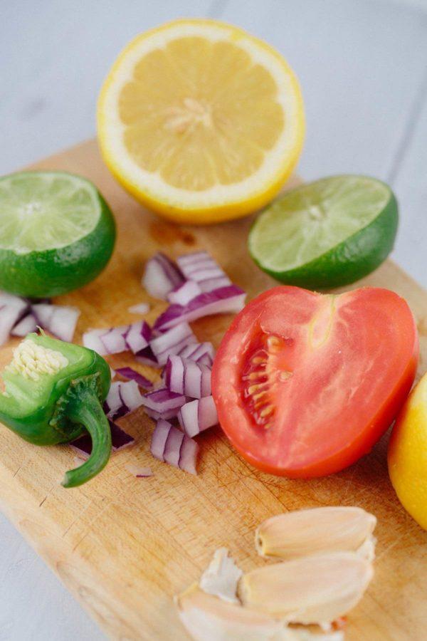 Fresh restaurant salsa ingredients