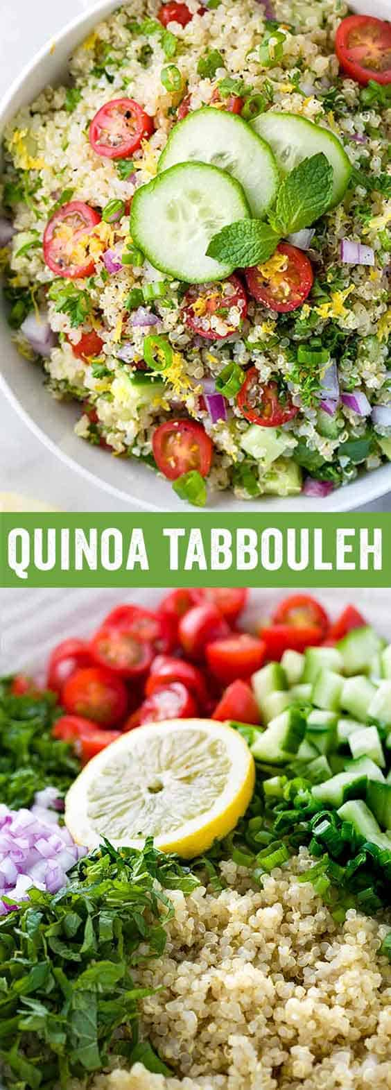 Quinoa tabbouleh is a low-calorieMiddle Easternside dish packed with plant protein, fresh vegetables, and herbs in each serving. This healthy salad is drizzled with a simple homemade lemon garlic dressing.