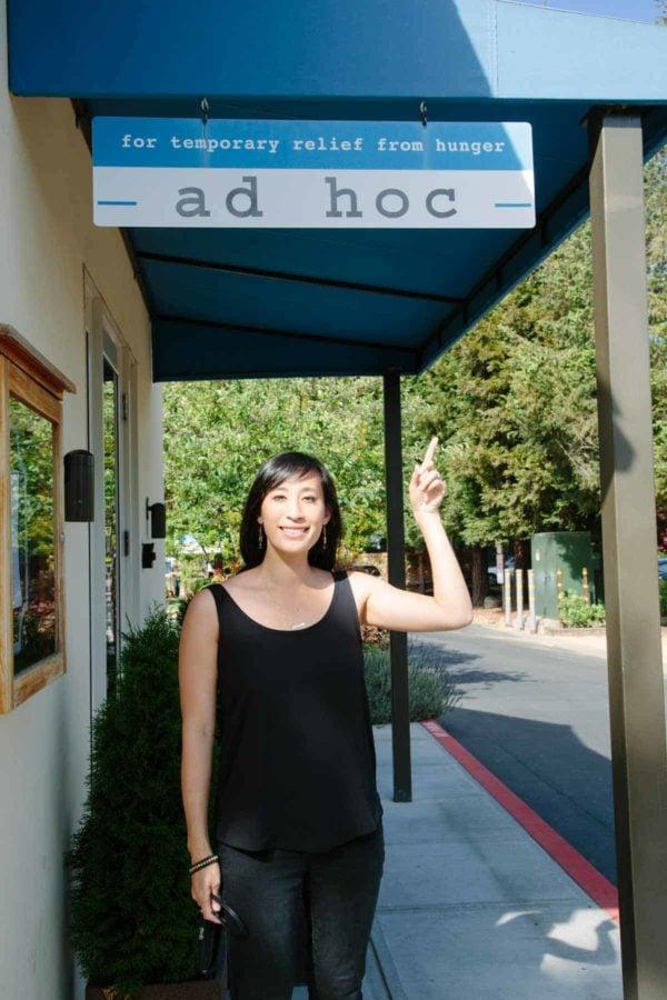 jessica in front of ad hoc restaurant