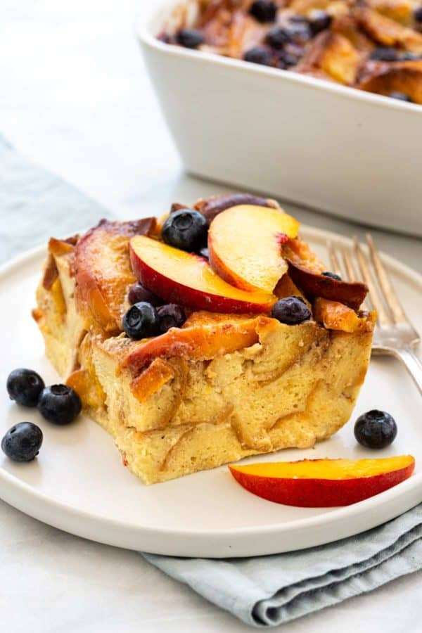 Blueberry Bread Pudding with Peaches