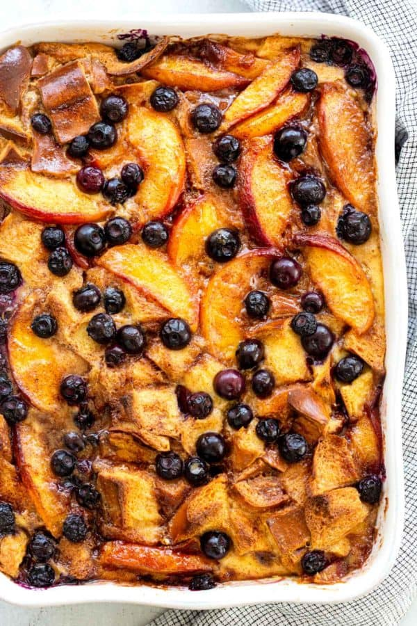 bread pudding with blueberries and peaches