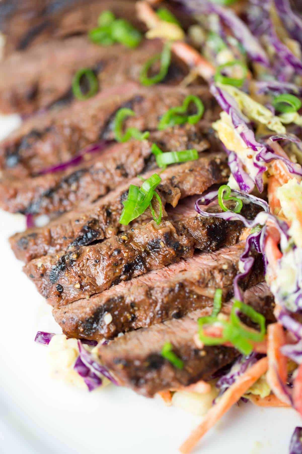 Grilled Flat Iron Steak with Marinade