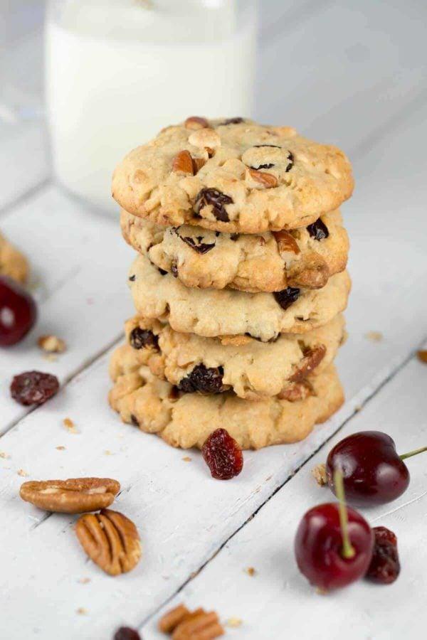 White Chocolate Cherry Pecan Cookies