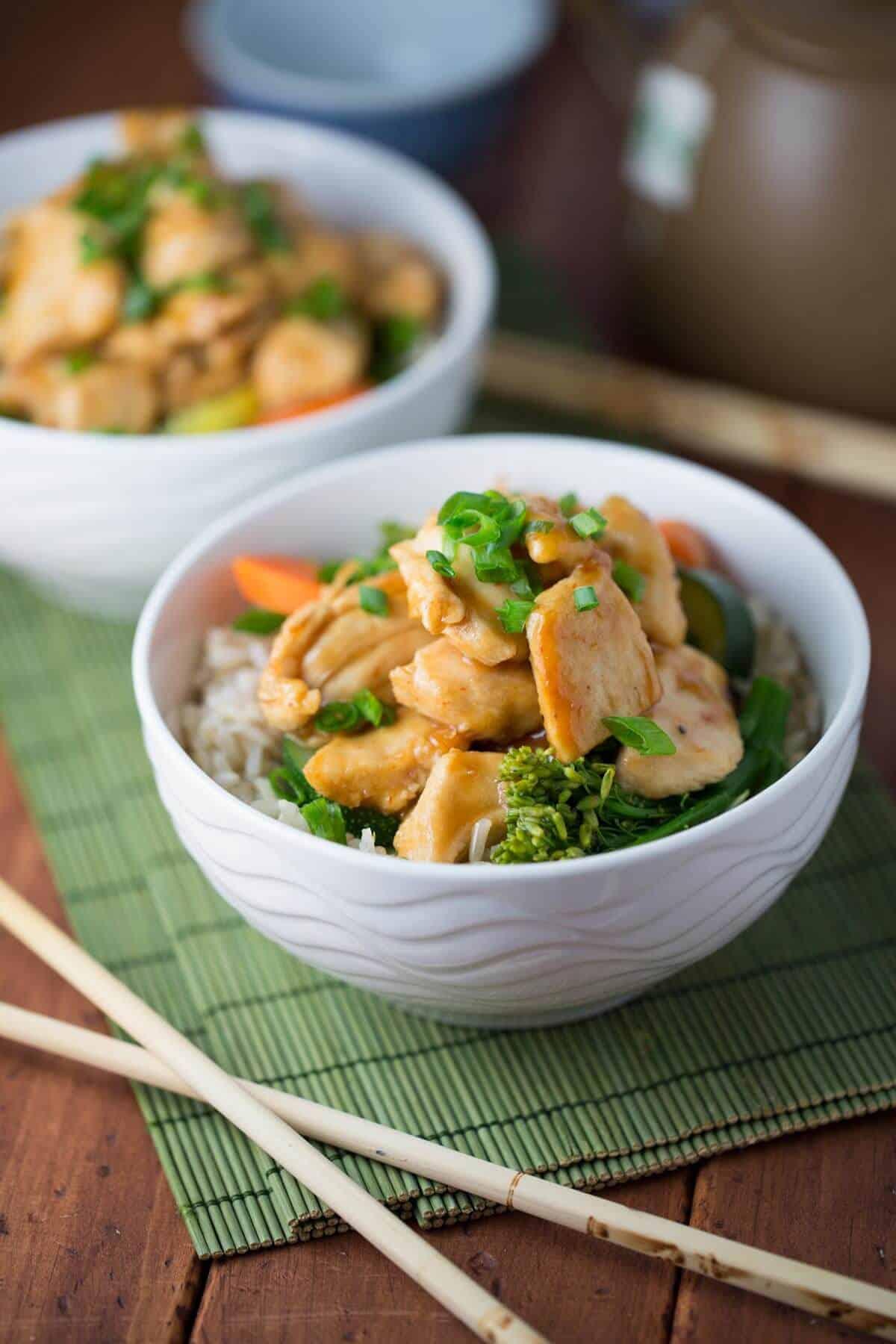 Fast recipe for Spicy Sriracha Honey Chicken Stir-Fry   jessicagavin.com