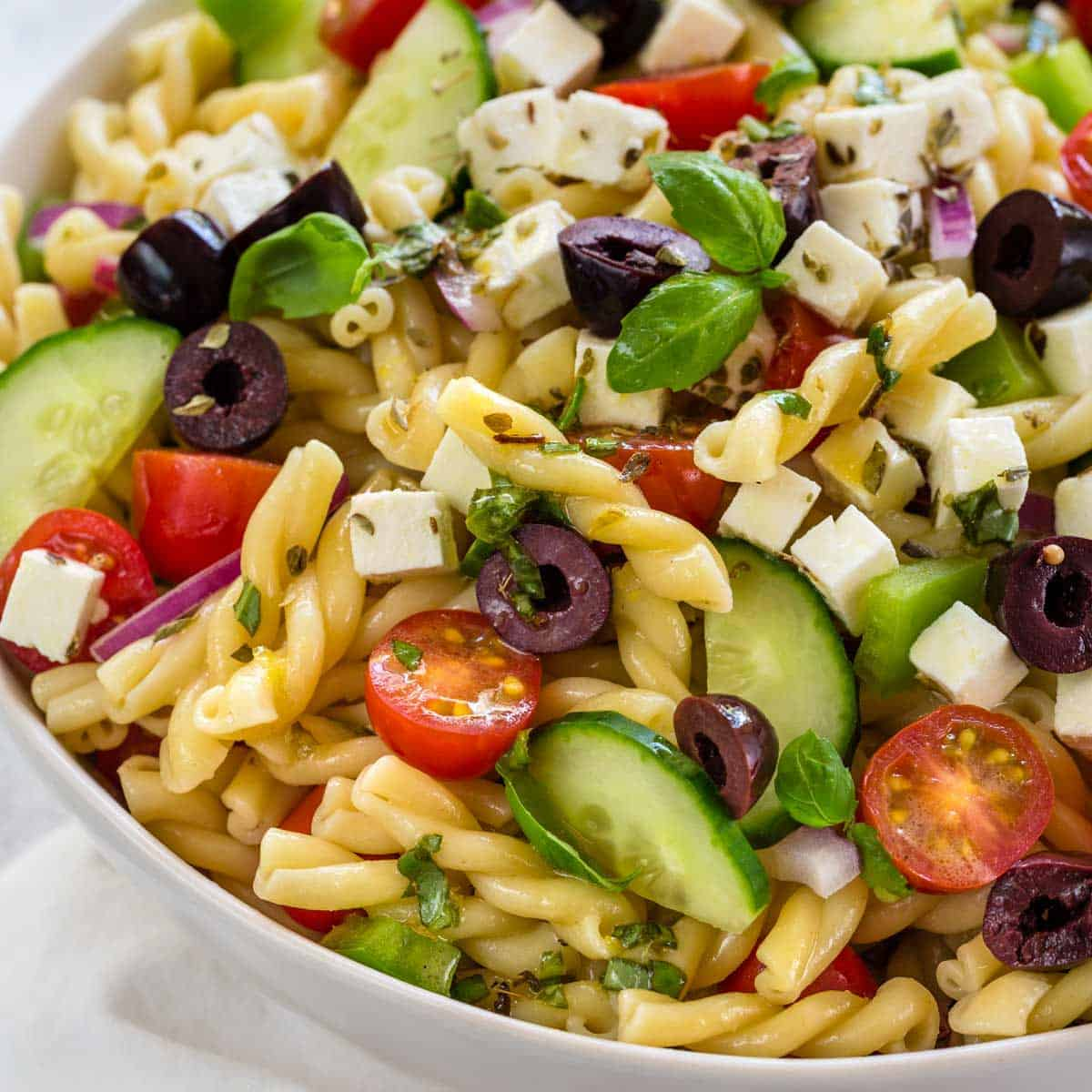 Easy Greek Pasta Salad Recipe Jessica Gavin