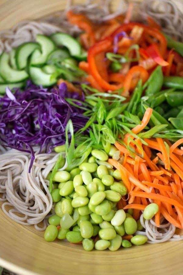 Ingredients for a soba noodle salad