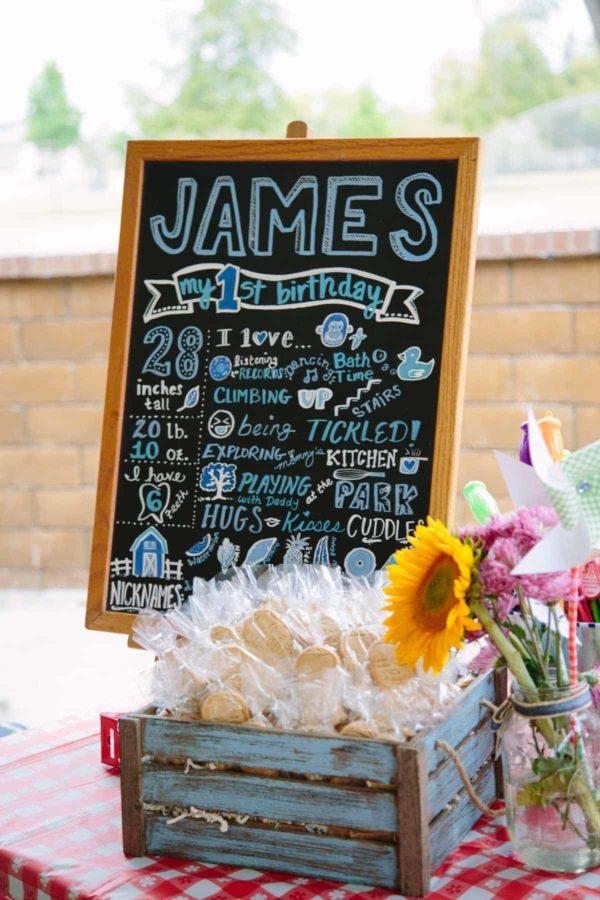 james 1st bday chalk board