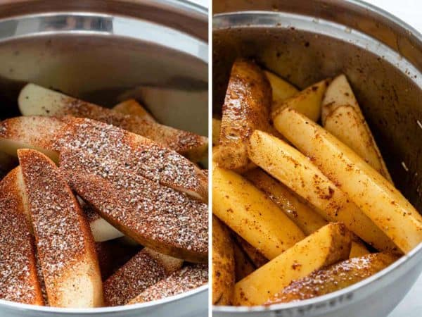 Before and after photo of mixing seasonings with potato slices