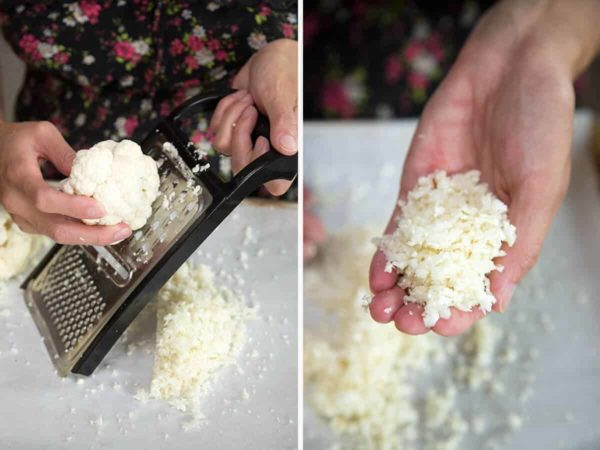 Using a handheld grader to cut cauliflower into rice shaped pieces