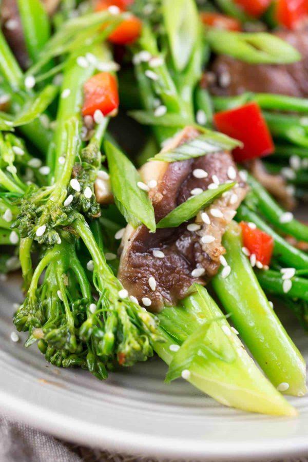 Broccolini and shiitake mushroom stir-fry with sesame seeds